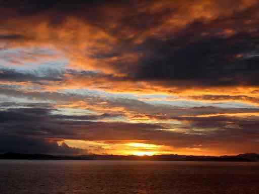 coucher de soleil en Nouvelle Zélande