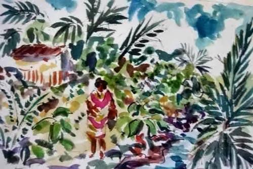 Femme dans un village Madang