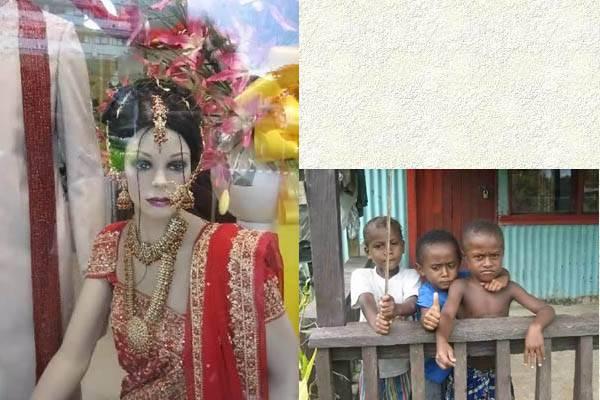 Fille et enfants aux Fidji
