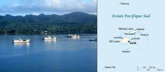 arrivée et carte Fidji