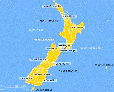 carte de Nouvelle Zélande