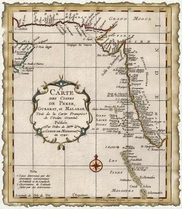 carte ancienne mer d'Arabie
