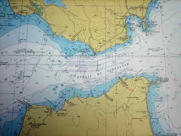 Carte marine détroit Gibraltar