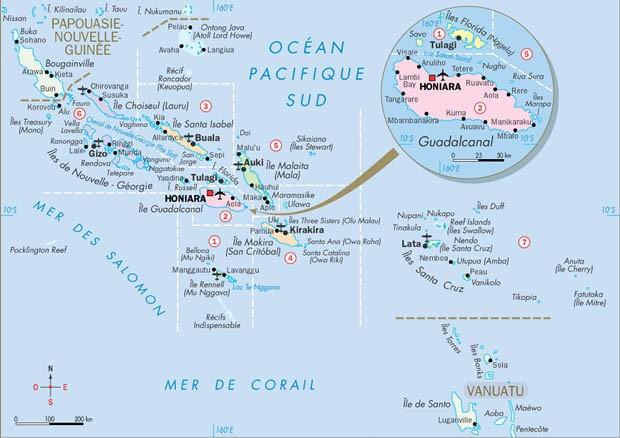 carte îles salomon
