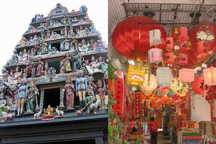 quartier chinois et temple indou Singapour