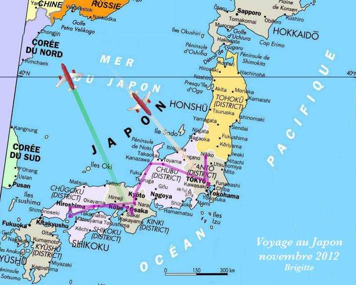 Carte voyage Japon