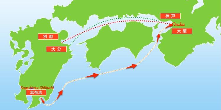 route Shibushi-Osaka