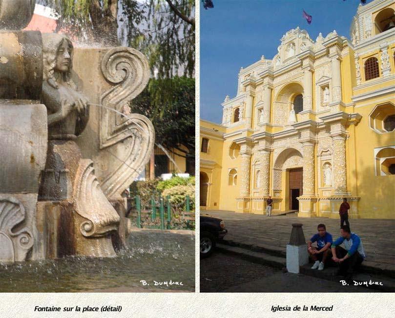Détail fontaine sur la place et Eglise de la Merced