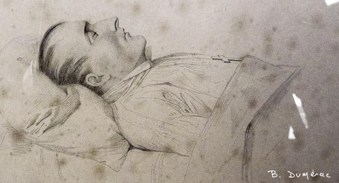 Dessin de Napoléon sur son lit de mort