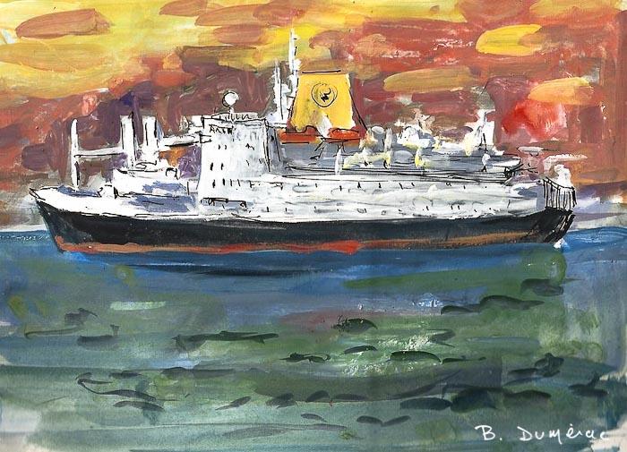 RMS St Helena gouache