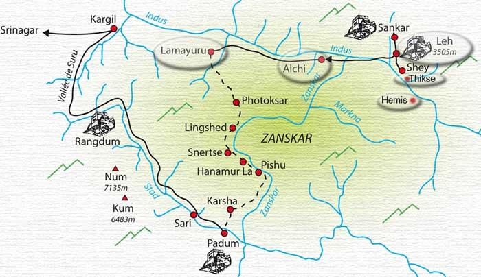 Carte des temples Leh